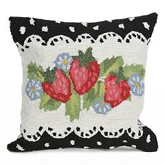 Liora Manne Frontporch Strawberries Indoor Outdoor Throw Pillow