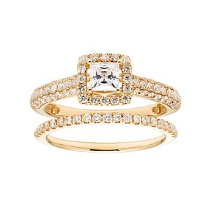 14k Gold 1 Carat T.W. IGL Certified Diamond Square Halo Engagement Ring Set