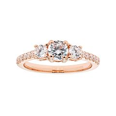 14k Gold 1 Carat T.W. IGL Certified Diamond 3-Stone Engagement Ring