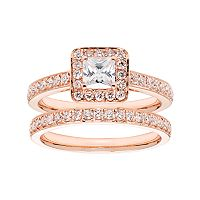 14k Gold 1 1/6 Carat T.W. IGL Certified Diamond Square Halo Engagement Ring Set
