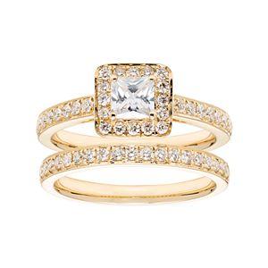 14k Gold 1 1/6 Carat T.W. IGL Certified Diamond Square Halo Engagement Ring Set