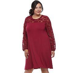 Plus Size Apt. 9® Lace Yoke A-Line Dress