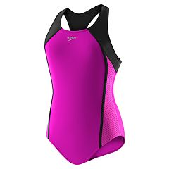 Girls 7-16 Speedo Colorblocked Mesh Splice One-Piece Swimsuit