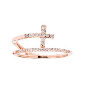 10k Gold 1/6 Carat T.W. Diamond Cross Ring