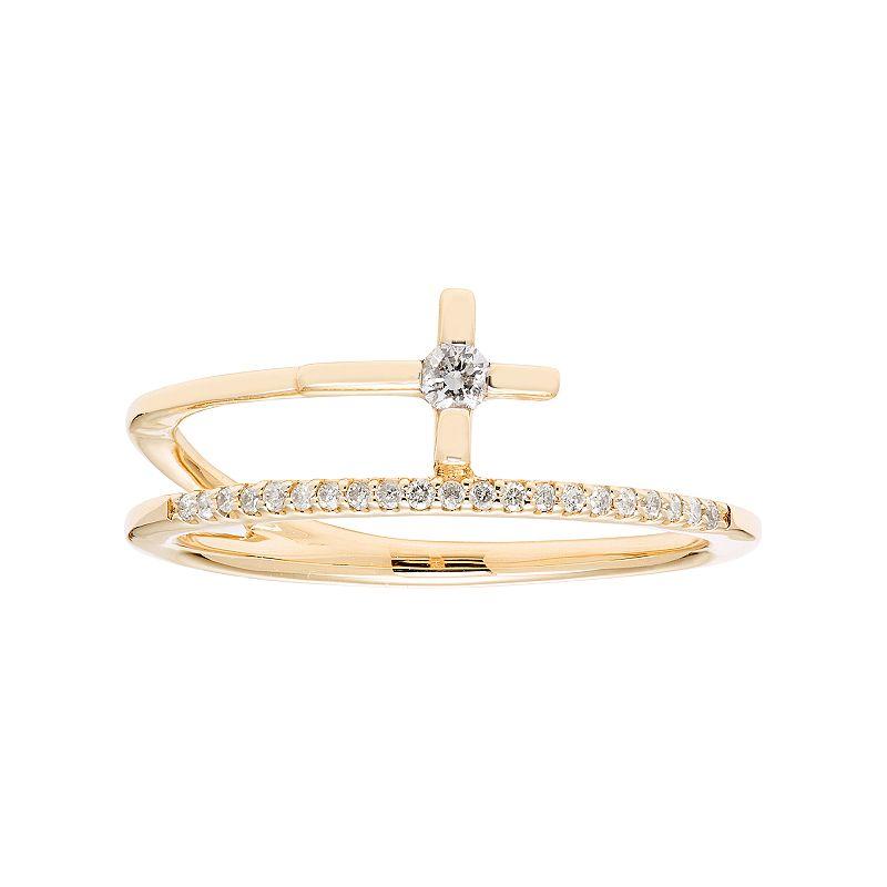 10k Gold 1/8 Carat T.W. Diamond Cross Ring, Women's, White