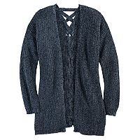 Girls 7-16 & Plus Size Cloud Chaser Lace-Up Back Cardigan Sweater