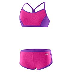 Girls 7-16 Speedo Heather Splice Boyshort Bikini Swimsuit Set