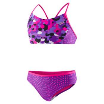 Girls 7-16 Speedo Printed Splice Bikini Swimsuit Set