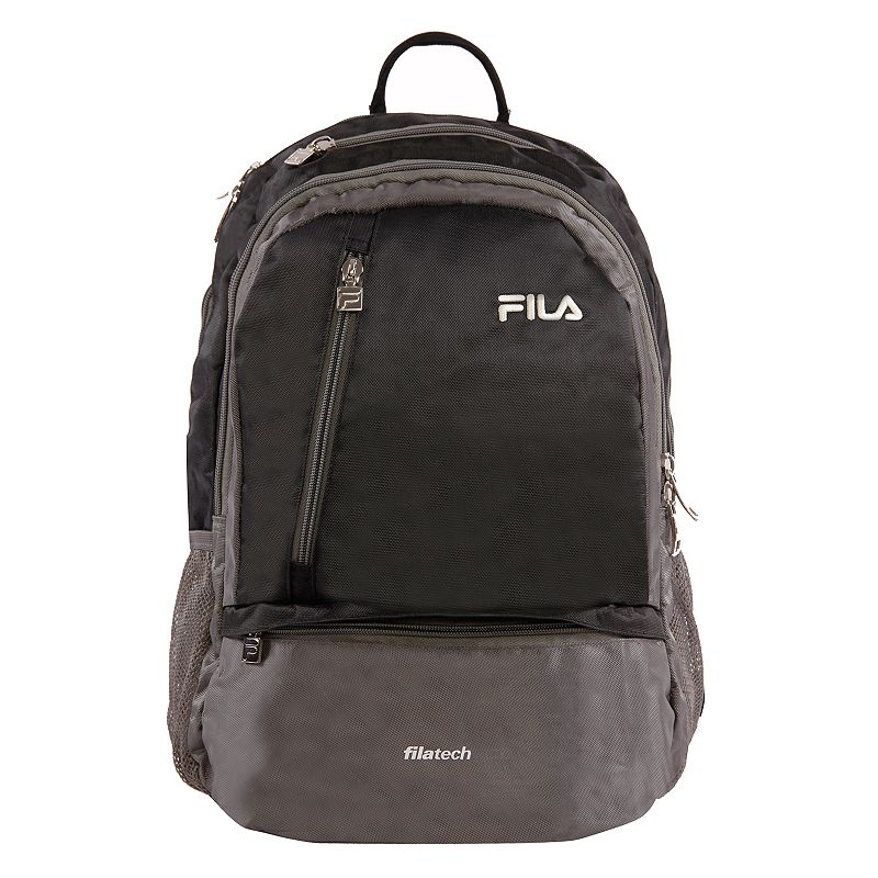 FILA Duel Tablet & Laptop Backpack, Black Stylish organization helps you power through your week with this FILA Duel tablet and laptop backpack. Durable 800 denier polyurethane coating Bartack sewing at all stress points for long lasting durability Spacious main compartment with multiple zippered pockets for accessories Fits up to a 15-in. laptop Tablet compartment Padded air mesh back panal with adjustable straps Side mesh water bottle pockets 18 H x 10 W x 12.5 D Weight: 1.2 lbs. Polyester Zipper closure Manufacturer's 2-year limited warrantyFor warranty information please click here Model no. FL-BP-1108  Size: One Size. Color: Black. Gender: unisex. Age Group: adult.