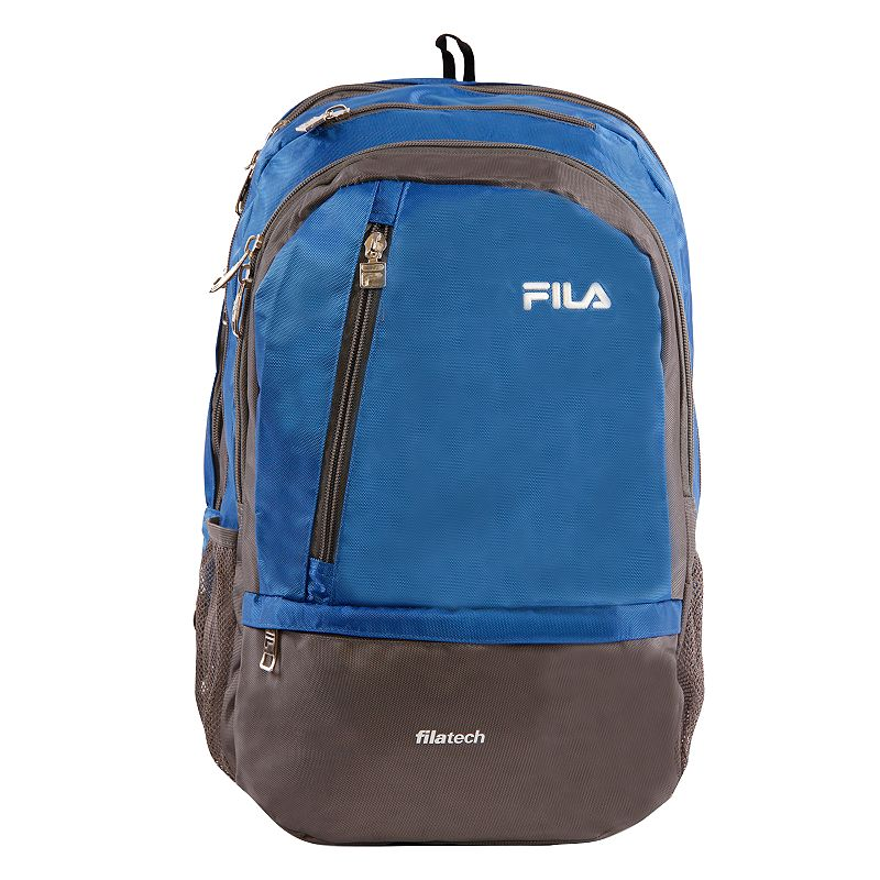 FILA Duel Tablet & Laptop Backpack, Blue Stylish organization helps you power through your week with this FILA Duel tablet and laptop backpack. Durable 800 denier polyurethane coating Bartack sewing at all stress points for long lasting durability Spacious main compartment with multiple zippered pockets for accessories Fits up to a 15-in. laptop Tablet compartment Padded air mesh back panal with adjustable straps Side mesh water bottle pockets 18 H x 10 W x 12.5 D Weight: 1.2 lbs. Polyester Zipper closure Manufacturer's 2-year limited warrantyFor warranty information please click here Model no. FL-BP-1108  Size: One Size. Color: Blue. Gender: unisex. Age Group: adult.