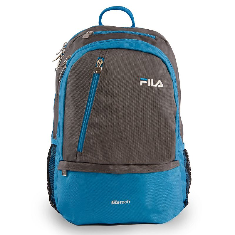 FILA Duel Tablet & Laptop Backpack, Grey Stylish organization helps you power through your week with this FILA Duel tablet and laptop backpack. Durable 800 denier polyurethane coating Bartack sewing at all stress points for long lasting durability Spacious main compartment with multiple zippered pockets for accessories Fits up to a 15-in. laptop Tablet compartment Padded air mesh back panal with adjustable straps Side mesh water bottle pockets 18 H x 10 W x 12.5 D Weight: 1.2 lbs. Polyester Zipper closure Manufacturer's 2-year limited warrantyFor warranty information please click here Model no. FL-BP-1108  Size: One Size. Color: Grey. Gender: unisex. Age Group: adult.