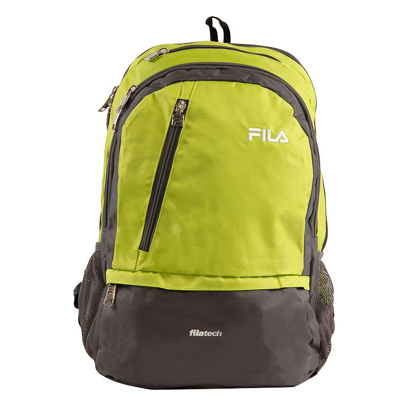 FILA Duel Tablet & Laptop Backpack, Green Stylish organization helps you power through your week with this FILA Duel tablet and laptop backpack. Durable 800 denier polyurethane coating Bartack sewing at all stress points for long lasting durability Spacious main compartment with multiple zippered pockets for accessories Fits up to a 15-in. laptop Tablet compartment Padded air mesh back panal with adjustable straps Side mesh water bottle pockets 18 H x 10 W x 12.5 D Weight: 1.2 lbs. Polyester Zipper closure Manufacturer's 2-year limited warrantyFor warranty information please click here Model no. FL-BP-1108  Size: One Size. Color: Green. Gender: unisex. Age Group: adult.