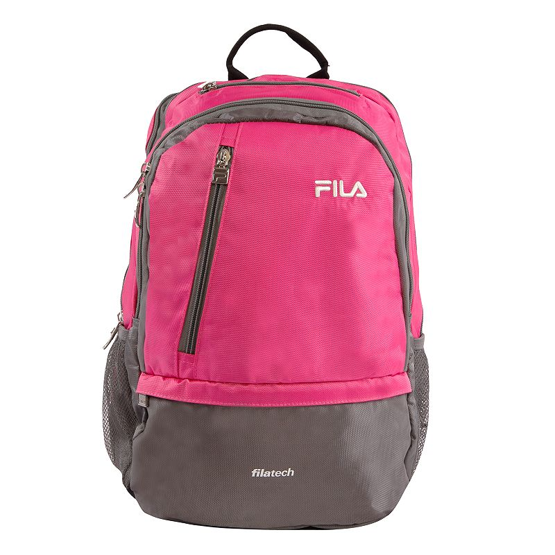FILA Duel Tablet & Laptop Backpack, Pink Stylish organization helps you power through your week with this FILA Duel tablet and laptop backpack. Durable 800 denier polyurethane coating Bartack sewing at all stress points for long lasting durability Spacious main compartment with multiple zippered pockets for accessories Fits up to a 15-in. laptop Tablet compartment Padded air mesh back panal with adjustable straps Side mesh water bottle pockets 18 H x 10 W x 12.5 D Weight: 1.2 lbs. Polyester Zipper closure Manufacturer's 2-year limited warrantyFor warranty information please click here Model no. FL-BP-1108  Size: One Size. Color: Pink. Gender: unisex. Age Group: adult.