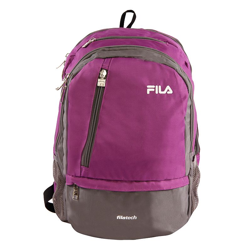 FILA Duel Tablet & Laptop Backpack, Purple Stylish organization helps you power through your week with this FILA Duel tablet and laptop backpack. Durable 800 denier polyurethane coating Bartack sewing at all stress points for long lasting durability Spacious main compartment with multiple zippered pockets for accessories Fits up to a 15-in. laptop Tablet compartment Padded air mesh back panal with adjustable straps Side mesh water bottle pockets 18 H x 10 W x 12.5 D Weight: 1.2 lbs. Polyester Zipper closure Manufacturer's 2-year limited warrantyFor warranty information please click here Model no. FL-BP-1108  Size: One Size. Color: Purple. Gender: unisex. Age Group: adult.
