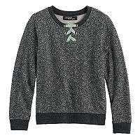Girls 7-16 Sugar Rush Lace-Up Neck Sweatshirt