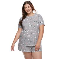 Plus Size Junior's SO® Short Sleeve Tee & Shorts Pajama Set