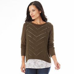 Women's Apt. 9® Pointelle Mock-Layer Sweater