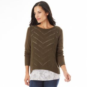 Women's Apt. 9® Pointelle Mock-Layer Sweater