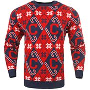 Men's Cleveland Indians Candy Cane Holiday Sweater
