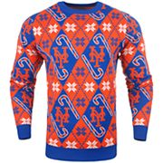 Men's New York Mets Candy Cane Holiday Sweater