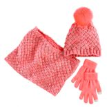 Girls 4-16 Solid Cable Knit Beanie, Scarf & Gloves Set