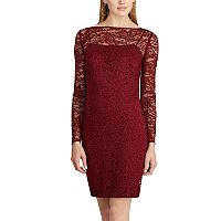 Women's Chaps Lace Long-Sleeve Dress