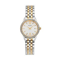 Seiko Women's Two Tone Stainless Steel Crystal Bezel Watch - SUR686