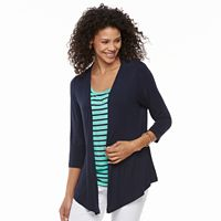 Petite Croft & Barrow® Printed Mock-Layer Cardigan