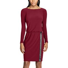 Women's Chaps Faux-Leather Trim Jersey Dress