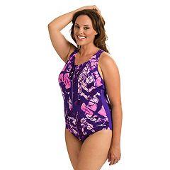 Plus Size Dolfin Zip One-Piece Swimsuit