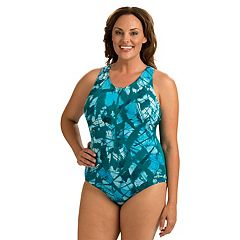 Plus Size Dolfin Zip One-Piece Swimsuit