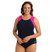 Plus Size Dolfin Moderate Colorblock One-Piece Swimsuit