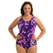 Plus Size Dolfin Printed Conservative One-Piece Lapsuit