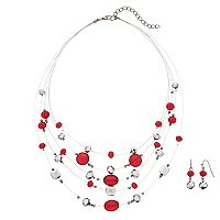 Red Beaded Illusion Necklace & Drop Earring Set