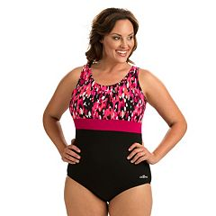 Plus Size Dolfin Colorblock Moderate Scoopback One-Piece Swimsuit