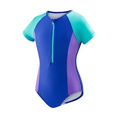 Girls 7-16 Speedo Short Sleeve Zip One-Piece Swimsuit