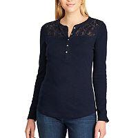 Petite Chaps Lace-Trim Henley Shirt