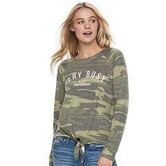 Juniors' Awake Camo 'Very Busy Doing Nothing' Graphic Top