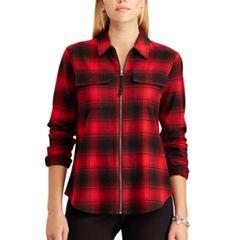 Petite Chaps Plaid Full-Zip Shirt