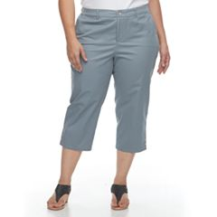 Plus Size Croft & Barrow® Button Accent Twill Capris