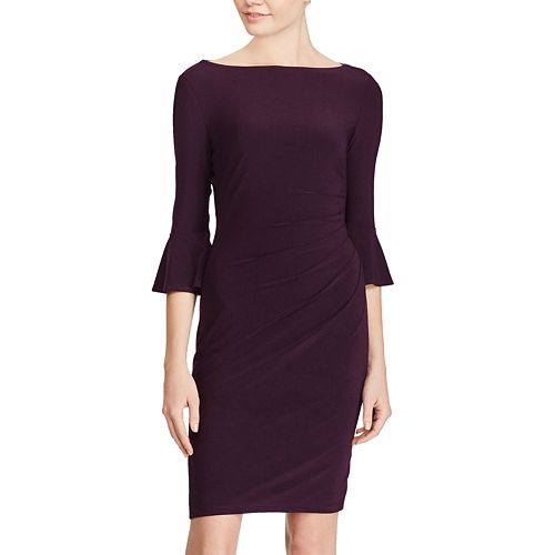 Petite Chaps Jersey Bell-Sleeve Sheath Dress