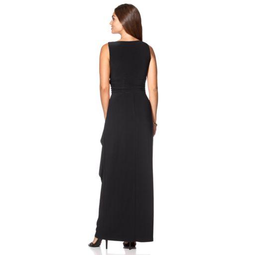 Petite Chaps Surplice Drape-Front Full-Length Dress