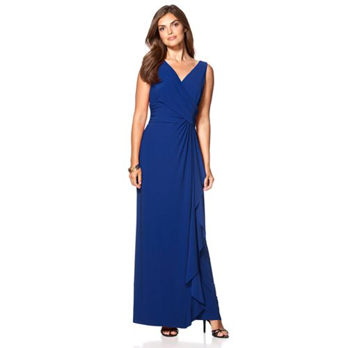 Petite Chaps Ruffled Faux-Wrap Gown