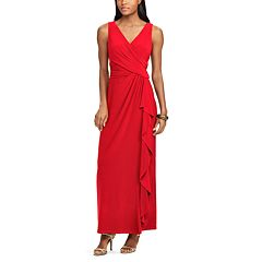 Petite Chaps Surplice Drape-Front Full-Length Dress