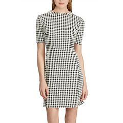 Petite Chaps Houndstooth Jacquard Shift Dress