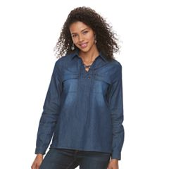 Women's Lee Lace-Up Denim Top