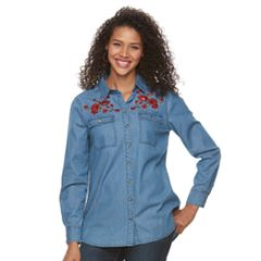 Women's Lee Floral Embroidered Denim Top