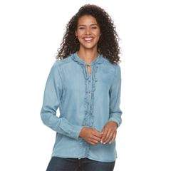 Women's Lee Ruffle Tie Front Shirt