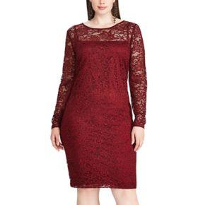 Plus Size Chaps Lace Overlay Sheath Dress