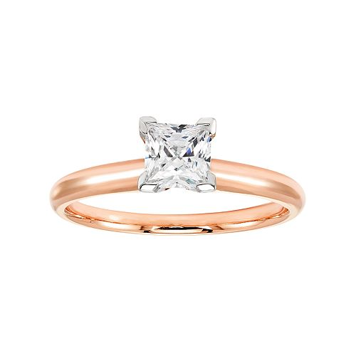 14k Rose Gold 3/4 Carat T.W. IGL Certified Diamond Solitaire Engagement Ring